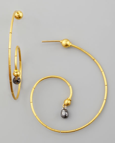 Spring 24k Black Diamond Swirl Earrings