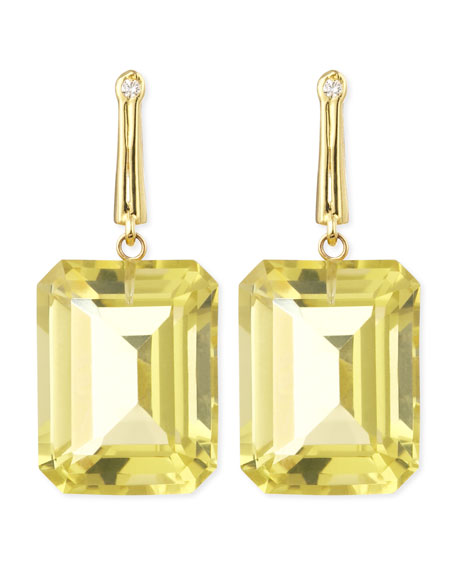 18k Green Gold Georgie Earrings with Lemon Quartz & Diamond