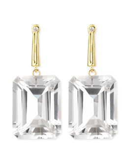 Joan Hornig 18k Green Gold Georgie Earrings with Rock Crystal & Diamond