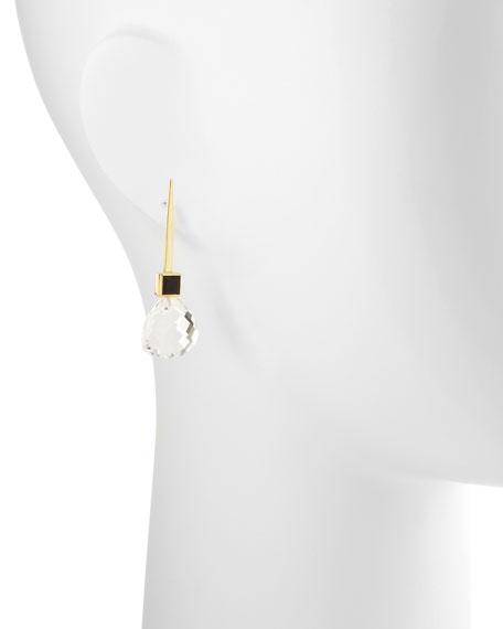 18k Green Gold Gigi Earrings with Black Onyx & Rock Crystal Drop