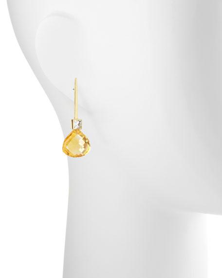 18k Green Gold Gigi Earrings with White Topaz & Citrine Drop