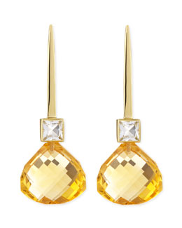 Joan Hornig 18k Green Gold Gigi Earrings with White Topaz & Citrine Drop