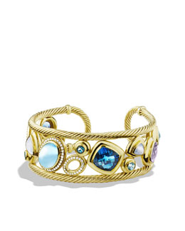 David Yurman Mosaic Cuff with Blue Topaz and Diamonds in Gold