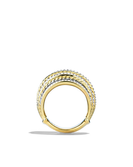 Lantana Large Dome Ring with Diamonds in Gold