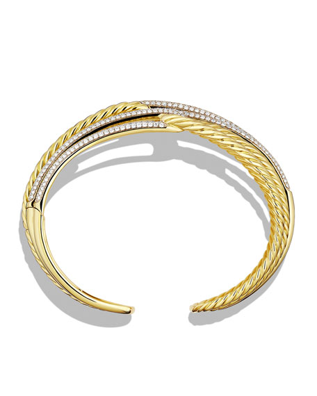 Labyrinth Triple-Loop Cuff with Diamonds in Gold