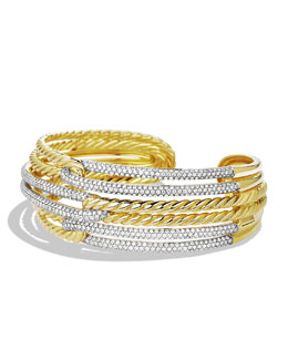 David Yurman Labyrinth Triple-Loop Cuff with Diamonds in Gold