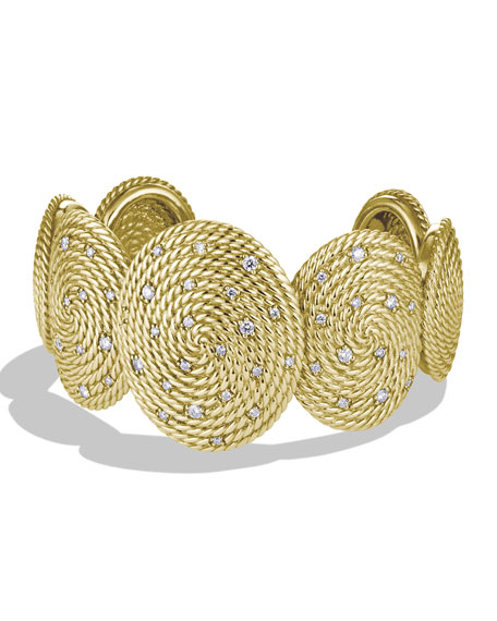Cable Coil Cuff with Diamonds in Gold