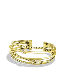 David Yurman X Crossover Cuff with Diamonds in Gold