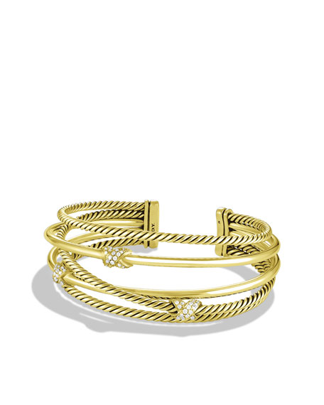 X Crossover Cuff with Diamonds in Gold