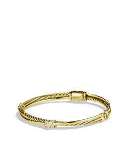 David Yurman X Crossover Bracelet with Diamonds in Gold