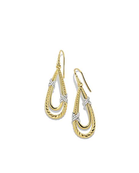 X Drop Earrings with Diamonds in Gold