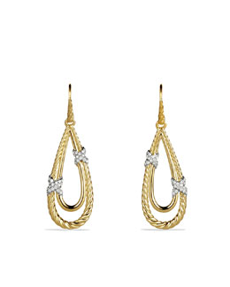 David Yurman X Drop Earrings with Diamonds in Gold