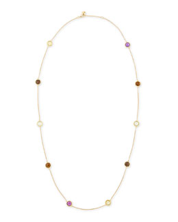 "Robert Coin Ipanema 18k Gold Semiprecious Station Necklace, 40""L"