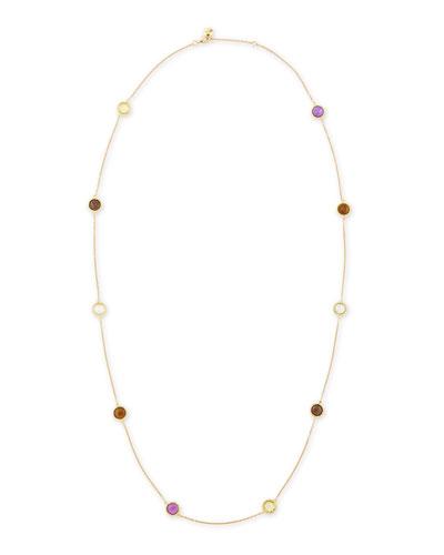 "Roberto Coin Ipanema 18k Gold Semiprecious Station Necklace, 40""L"