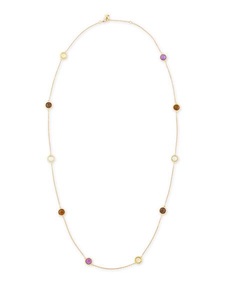 "Ipanema 18k Gold Semiprecious Station Necklace, 40""L"