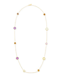 "Robert Coin Ipanema 18k Gold Semiprecious Station Necklace, 18""L"