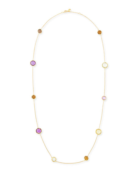"Ipanema 18k Gold Semiprecious Station Necklace, 18""L"