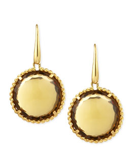 Robert Coin 18k Yellow Gold  Ipanema Round Citrine Drop Earrings