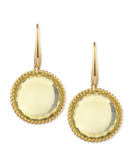 Robert Coin 18k Yellow Gold  Ipanema Round Lemon Quartz Drop Earrings