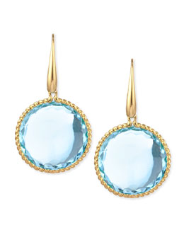 Robert Coin 18k Yellow Gold  Ipanema Round Blue Topaz Drop Earrings