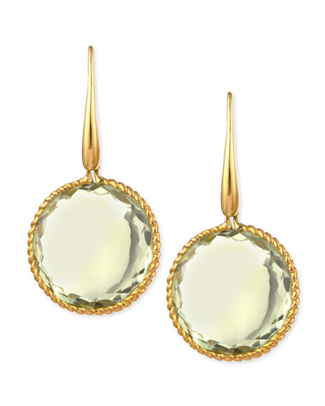 Roberto Coin 18k Yellow Gold Ipanema Round Green Amethyst Drop Earrings