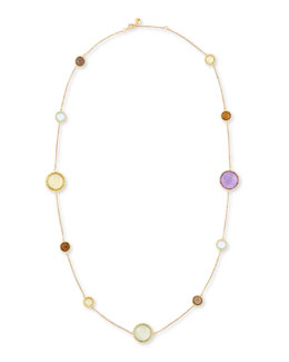 "Robert Coin Ipanema 18k Gold Semiprecious Station Necklace, 33""L"