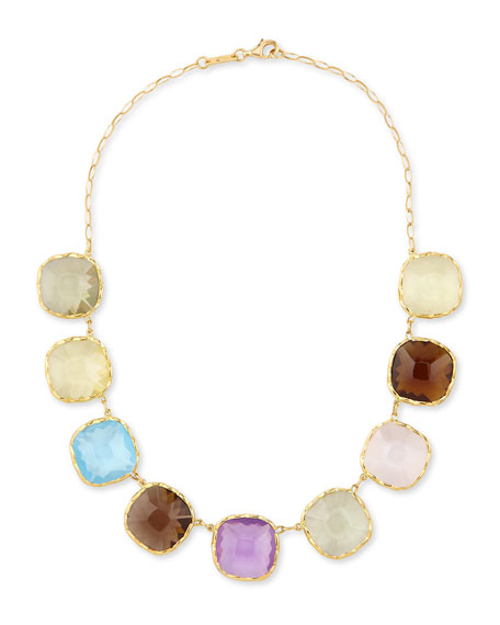 Roberto Coin Ipanema 18k Gold Square Semiprecious Necklace