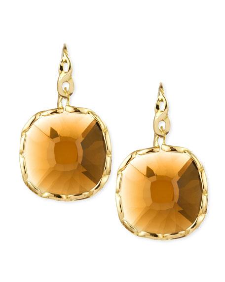 Ipanema 18k Gold Square Citrine Earrings