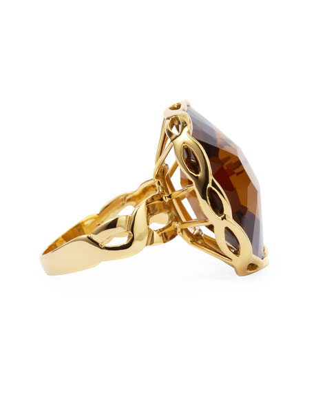 Ipanema 18k Gold Square Citrine Ring, Size 6.5
