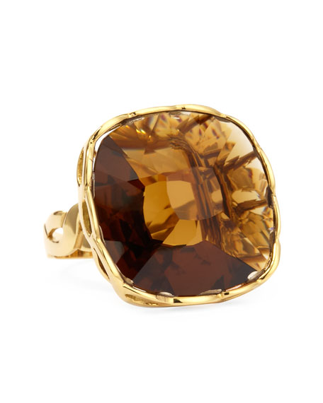Ipanema 18k Gold Square Citrine Ring, Size 6.5