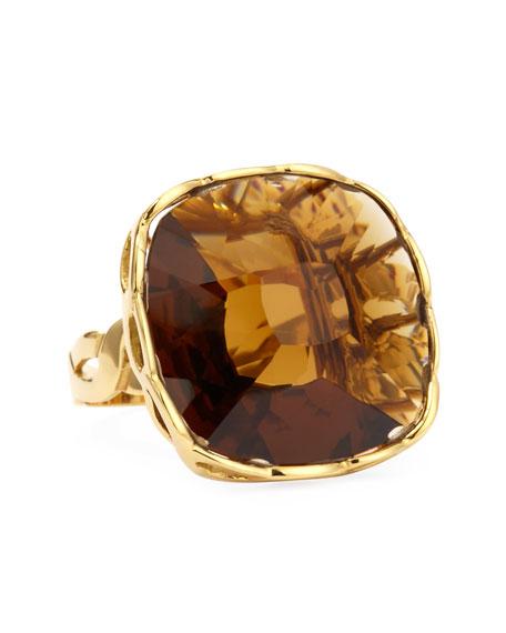 Ipanema 18k Gold Square Citrine Ring, Size 7