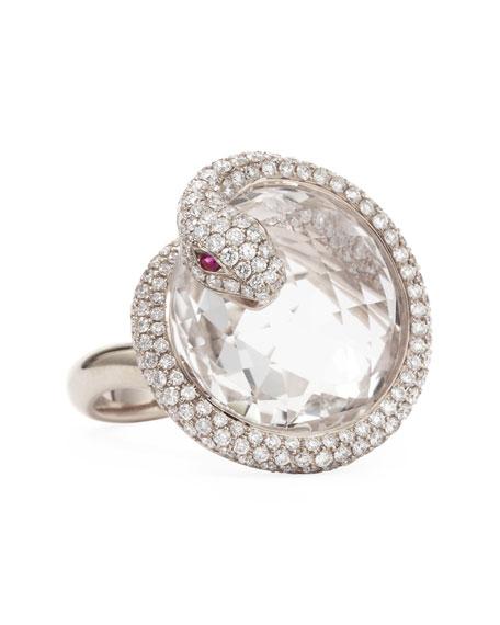 Roberto Coin 18k White Gold Diamond Snake Ring