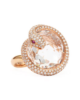Robert Coin 18k Rose Gold Diamond Snake Ring