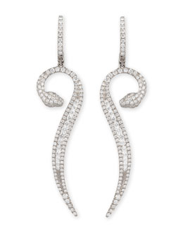 Robert Coin 18k White Gold Diamond Snake Earrings