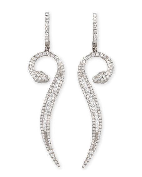 Roberto Coin 18k White Gold Diamond Snake Earrings R2eZNjTA