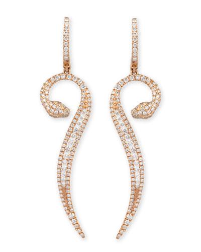 Roberto Coin 18k Rose Gold Diamond Snake Earrings