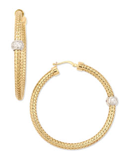 Robert Coin 18k Yellow Gold Mini Primavera Hoop Earrings