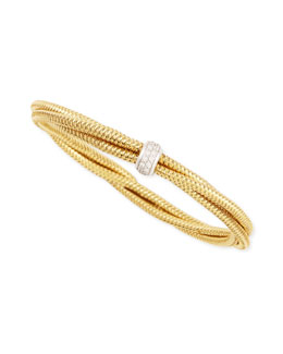 Roberto Coin 8.5mm Primavera 18k Yellow Gold Triple-Row Diamond Bracelet