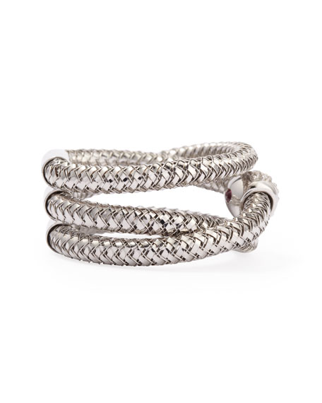 Primavera 18k White Gold GHSI Diamond Triple-Row Ring, 0.10TCW