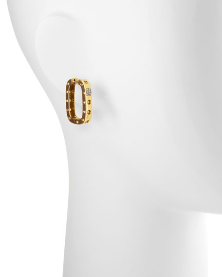 Pois Moi Diamond Square Hoop Earrings, Yellow Gold