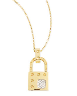 Robert Coin 18k Yellow Gold Pois Moi Dia Lock Necklace