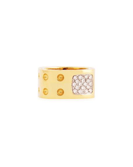 Pois Moi Two-Row Diamond Ring, Yellow Gold, Size 6.5