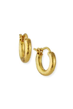 Elizabeth Locke Baby Hammered 19k Gold Hoop Earrings, 14mm