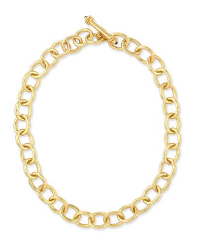 Hammered 19k Volterra Link Necklace, 17