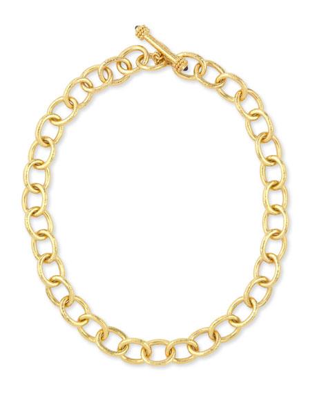 """Hammered 19k Volterra Link Necklace, 17""""L"""