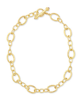 "Elizabeth Locke Hammered 19k Garda Link Necklace, 17""L"