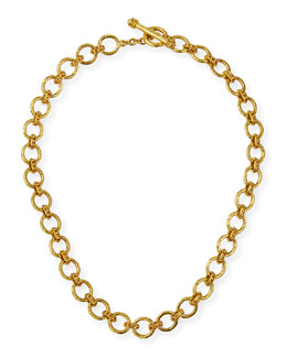 Elizabeth Locke 19k Small Elba Flat Link Necklace