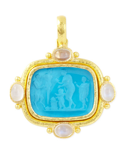 Pan Picnic Antique 19k Gold Intaglio Pendant, Blue