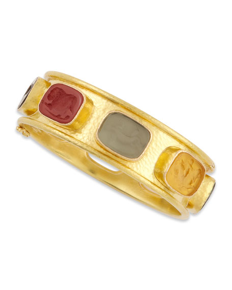 Antique Animals Intaglio 19k Gold Bangle, Neutral/Multicolor