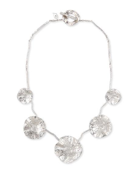 Serenity Silver Diamond & Floral Bib Necklace